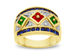 Sapphire, Ruby, Emerald & Diamond Ring in 14K Gold