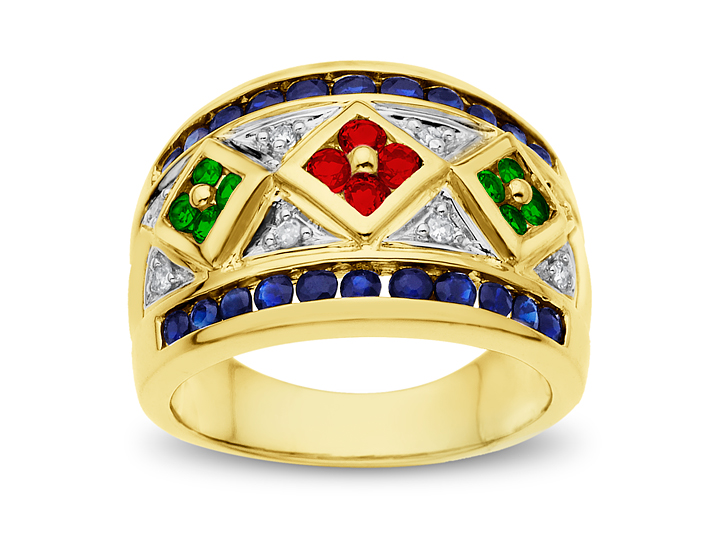 Sapphire, Ruby, Emerald & Diamond Ring in 14K Gold from Jewelry.com
