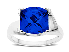 Blue Sapphire Ring in 14K White Gold