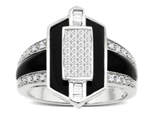 1/2 ct Diamond and Onyx Ring in 14K White Gold