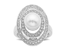 9 mm Pearl and 1/3 ct Diamond Ring in 14K White Gold