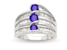 Tanzanite and 1 ct Diamond Ring in 14K White Gold