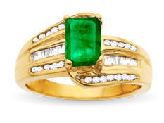 Emerald and 1/3 ct Diamond Ring in 14K Gold