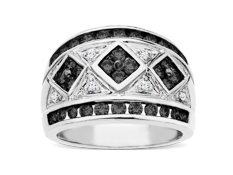 1 1/4 ct Black and White Diamond Ring in 14K White Gold