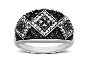 1/2 ct Black and White Diamond Ring in 14K White Gold from Jewelry.com