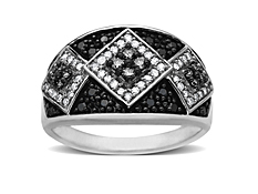 1/2 ct Black and White Diamond Ring in 14K White Gold