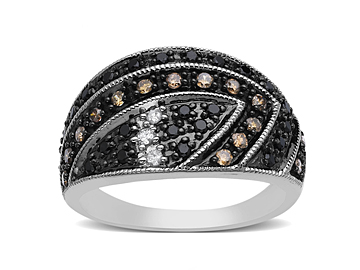 1/2 ct Black, White and Champagne Diamond Ring in 14K White Gold from Jewelry.com
