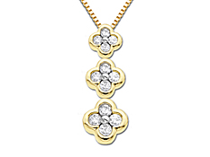 1/2 ct  Diamond Clover Pendant in 14K Gold