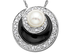 Pearl and Onyx Pendant with 1/6 ct Diamonds in 14K White Gold