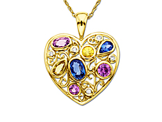 Pink, Yellow and Blue Sapphire Heart Pendant with Diamonds in 14K Gold