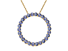 2 1/3 ct Tanzanite Circle Pendant in 14K Gold