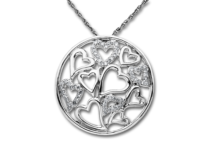1/5 ct Diamond Heart Pendant Necklace in 14K White Gold from Jewelry.com