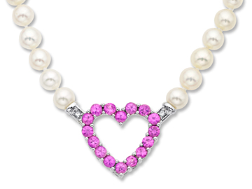Pink Tourmaline Heart and Freshwater Pearl Necklace in 14K White Gold from Jewelry.com