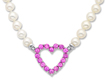 Pink Tourmaline Heart and Freshwater Pearl Necklace in 14K White Gold