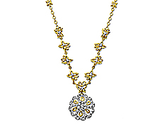 1/3 ct Diamond Flower and Butterfly Necklace in 14K Gold from Jewelry.com