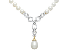 Pearl and 3/8 ct Diamond Necklace in 14K White Gold