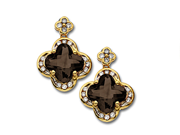 5 ct Smokey Quartz and 1/4 ct Diamond Earrings in 14K Gold from Jewelry. com