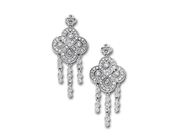 1 Carat Diamond Vintage Style Chandelier Earring in 14K White Gold from Jewelry.com