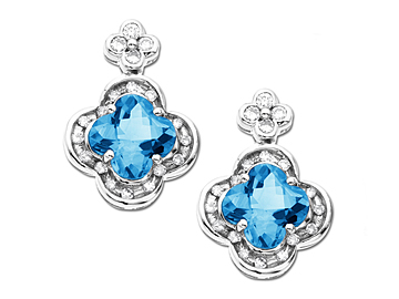 4 ct Swiss Blue Topaz and 1/4 ct Diamond Earring in 14K White Gold Earrings from Jewelry.com