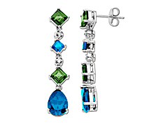 Blue Topaz and Peridot Dangle Earrings with Diamonds in 14K White Gold