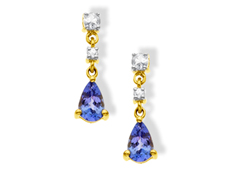 Tanzanite and White Sapphire Earrings in 14K Gold
