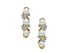 Pearl and 1/6 ct Diamond Earrings in 14K Gold