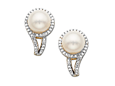 Pearl and 1/4 ct Diamond Earrings in 14K Gold