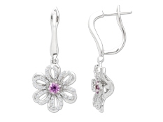 1/4 ct Diamond and Pink Sapphire Flower Earrings in 14K White Gold
