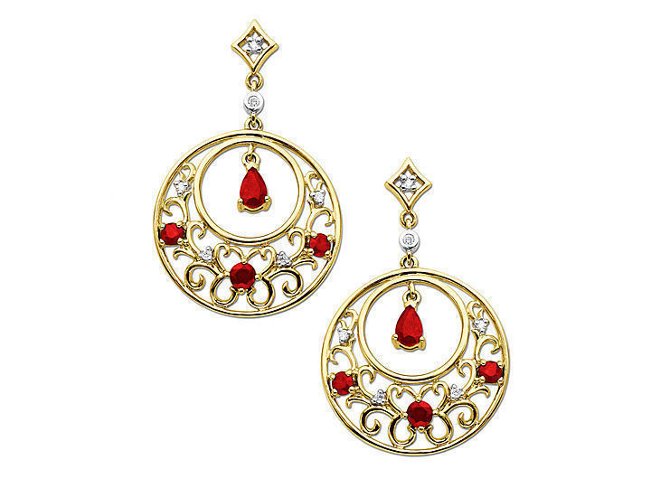 Ruby Earrings with Diamonds in 14K Gold from Jewelry.com