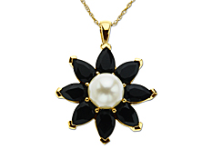 Onyx and Pearl Flower Pendant in 14K Gold