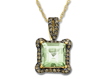 Green Amethyst & 1/4 ct Champagne Diamond Pendant Necklace in 14K Gold