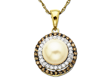 Freshwater Pearl and 1/4 ct Champagne & White Diamond Pendant Necklace in 14K Gold from Jewelry.com