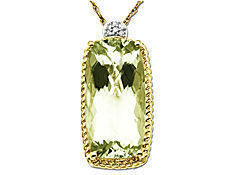 Green Amethyst Pendant in 14K Gold with Diamonds