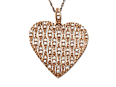 1/3 ct Diamond Heart Pendant in 14K Pink Gold
