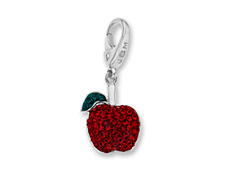 Apple Charm with Red and Green Crystal in Sterling Silver