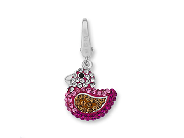 Rubber Duck Charm with Pink, Yellow and White Crystal in Sterling Silver from Jewelry.com