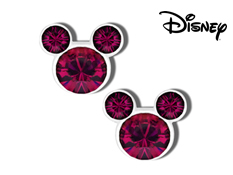 Disney's Mickey Mouse Violet Swarovski Crystal Earrings in Sterling Silver