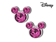 Disney's Mickey Mouse Rose Swarovski Crystal Stud Earrings in Sterling Silver