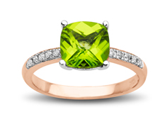 Peridot and 1/10 ct Diamond Ring in 10K Pink Gold