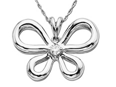 Butterfly Pendant with Diamond in Palladium