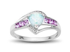 1/3 ct Opal and Pink Sapphire Ring with Diamonds in 10K White Gold