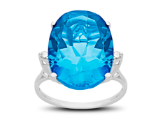15 ct Blue Topaz Ring with Diamonds in 10K White Gold