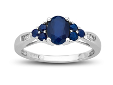 1 ct Sapphire Ring with Diamonds in 10K White Gold