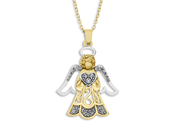 Angel Pendant with Diamond in 18K Gold over Sterling Silver