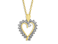 Heart Pendant with Diamond in 18K Gold over Sterling Silver