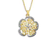 Flower Pendant with Diamond in 18K Gold over Sterling Silver