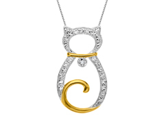 Cat Pendant with Diamond in Sterling Silver with 18K Gold overlay
