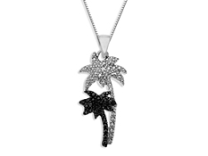 Palm Tree Pendant with Diamond in Sterling Silver