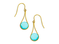 4 1/2 ct Medium Blue Chalcedony Drop Earrings in 10K Gold