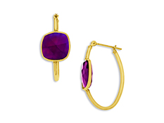 9 3/4 ct Purple Chalcedony Hoop Earrings in 10K Gold